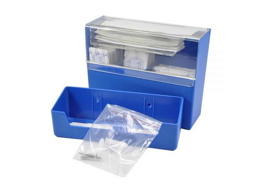 Krabička na náplaste, detekovateľná + 100 ks náplastí, modrá